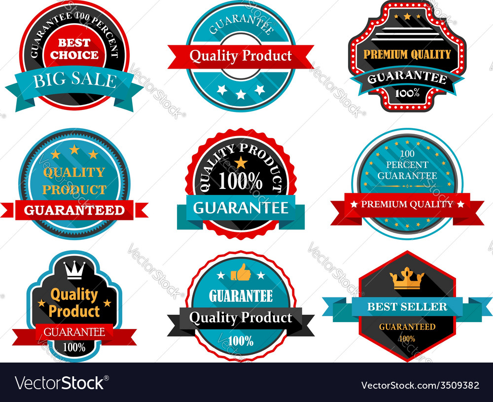 Quality guarantee retro labels collection vector | Price: 1 Credit (USD $1)