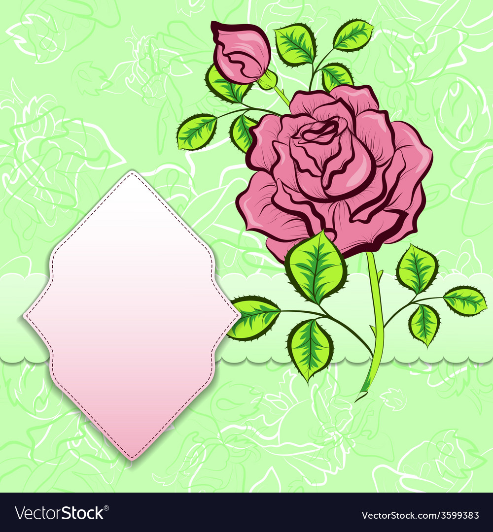 Background with frame and rose vector | Price: 1 Credit (USD $1)