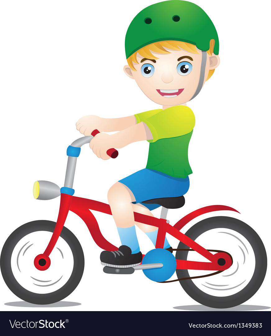 Bicycle boys using helmet vector | Price: 1 Credit (USD $1)
