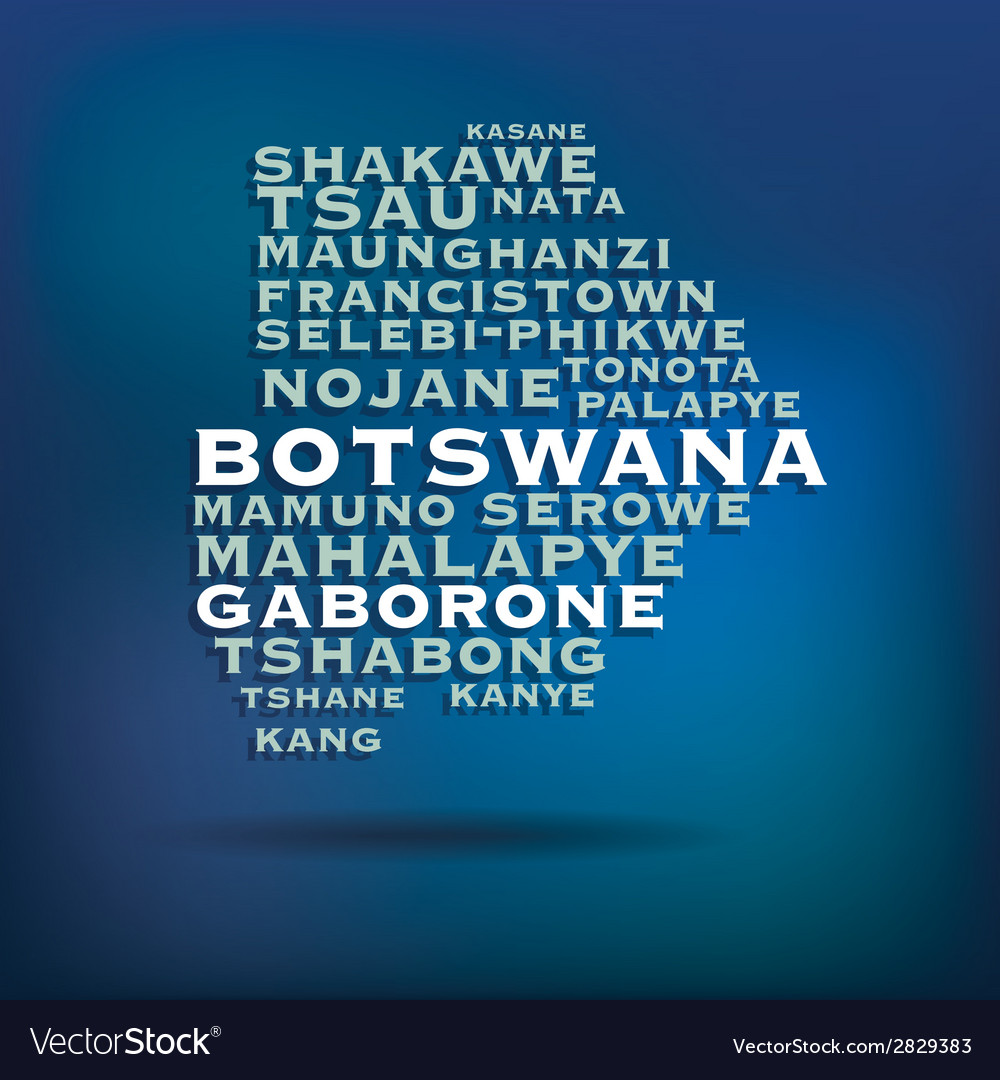 Botswana map made with name of cities vector | Price: 1 Credit (USD $1)