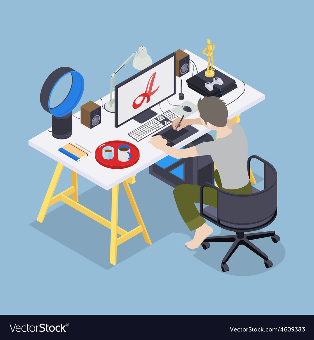 Digital artist at his workplace vector | Price: 1 Credit (USD $1)