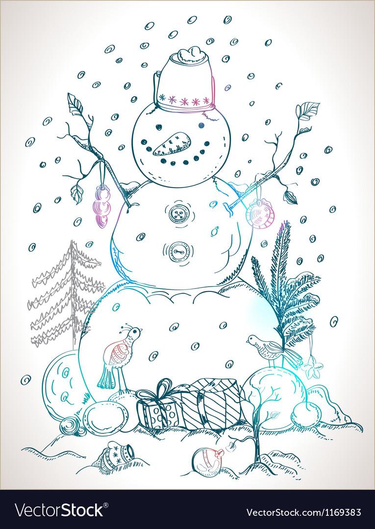 Happy snowman vector | Price: 1 Credit (USD $1)