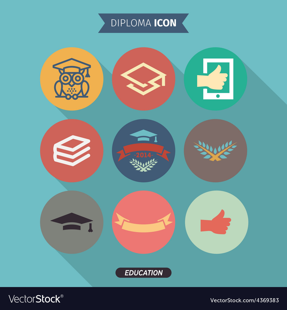 Icons of education and intelligence in flat style vector | Price: 1 Credit (USD $1)