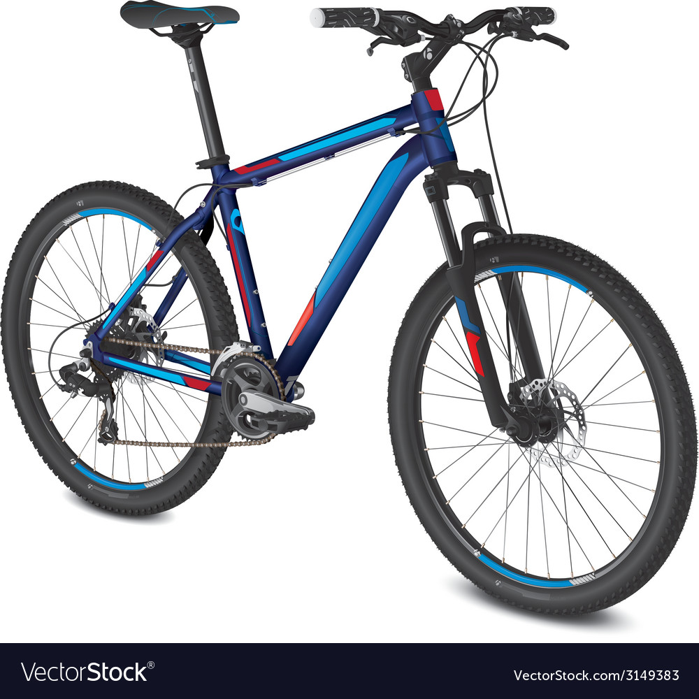Mountain blue red bike vector | Price: 1 Credit (USD $1)