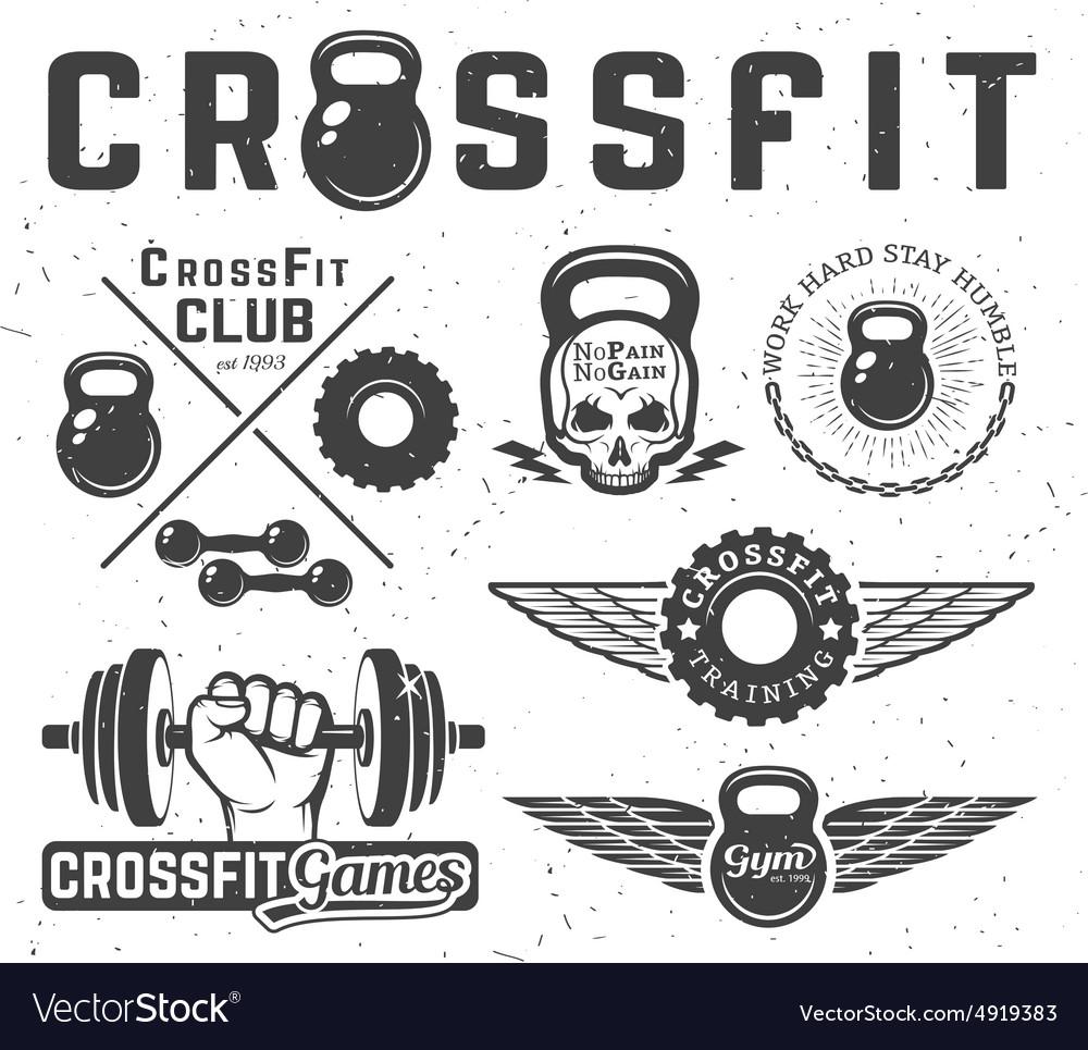 Set of fitness emblems vector