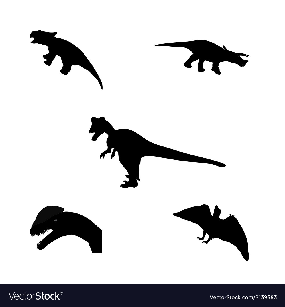 Set of silhouette dinosaur black vector | Price: 1 Credit (USD $1)