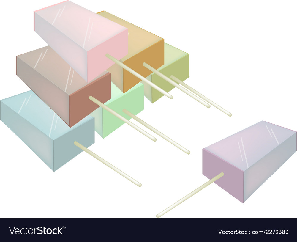 Stack of various flavored popsicle ice creams vector | Price: 1 Credit (USD $1)