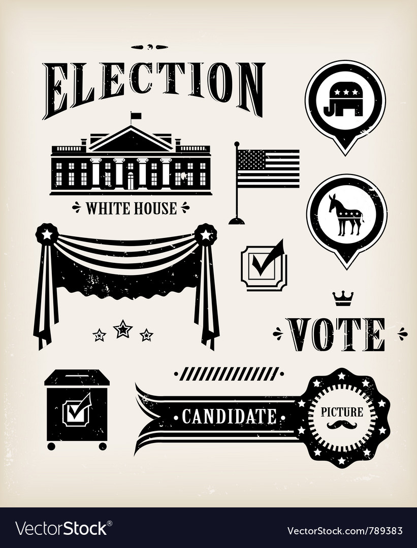 Usa election icon set vector | Price: 3 Credit (USD $3)