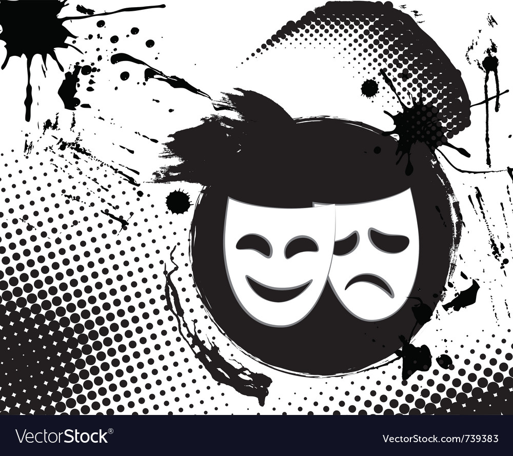 Vintage theater masks emblem vector | Price: 1 Credit (USD $1)