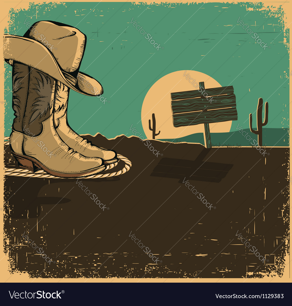 Western with cowboy shoes and desert landscape on vector | Price: 1 Credit (USD $1)