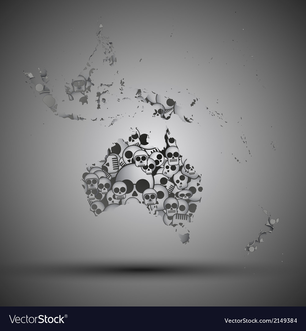 Australia map in the form of skulls background vector | Price: 1 Credit (USD $1)