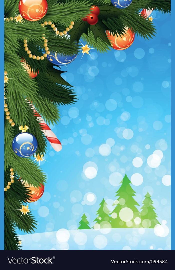 Christmas card with fir tree vector | Price: 1 Credit (USD $1)