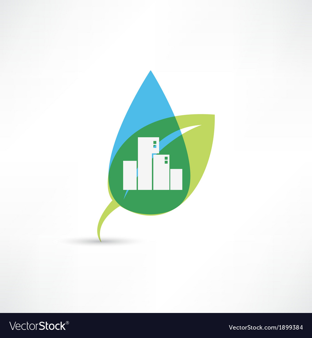 Eco city with leafs vector | Price: 1 Credit (USD $1)