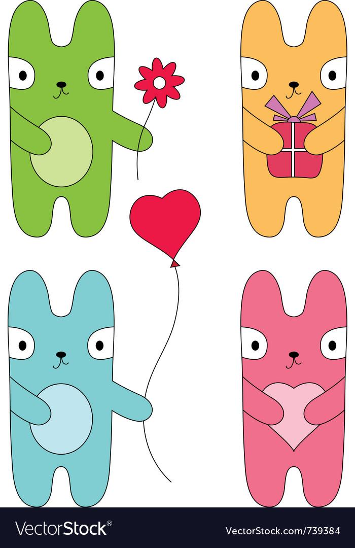 Four bunnies vector
