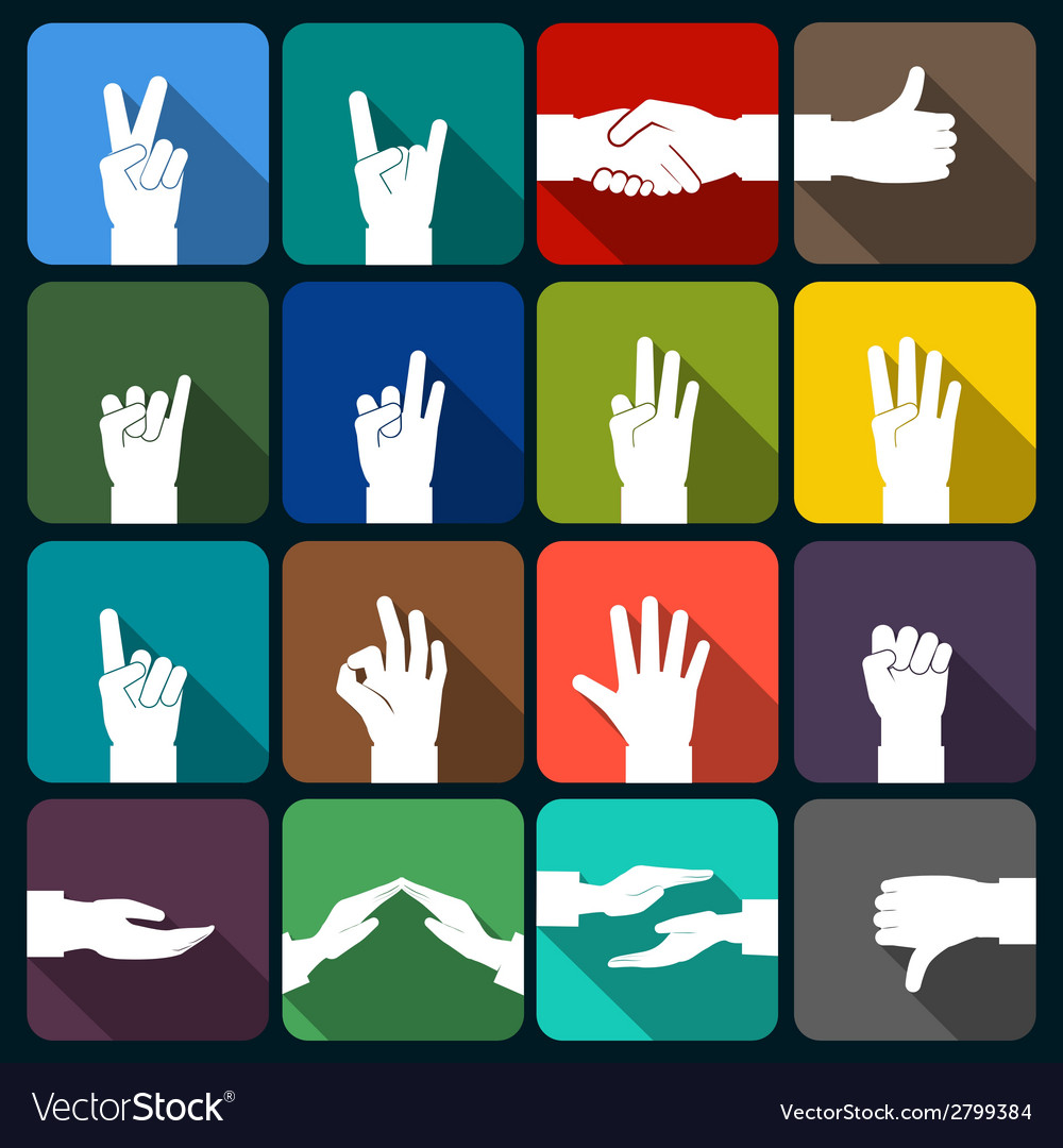 Hands icons set flat vector | Price: 1 Credit (USD $1)