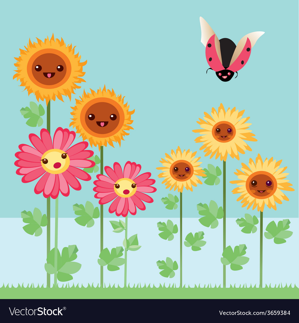 Kawaii flowers and bugs vector | Price: 1 Credit (USD $1)