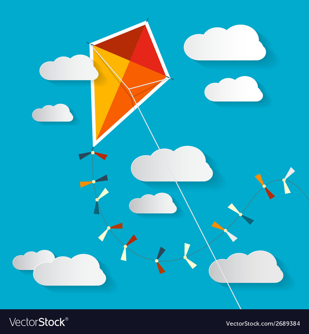 Paper kite on blue sky with clouds vector | Price: 1 Credit (USD $1)