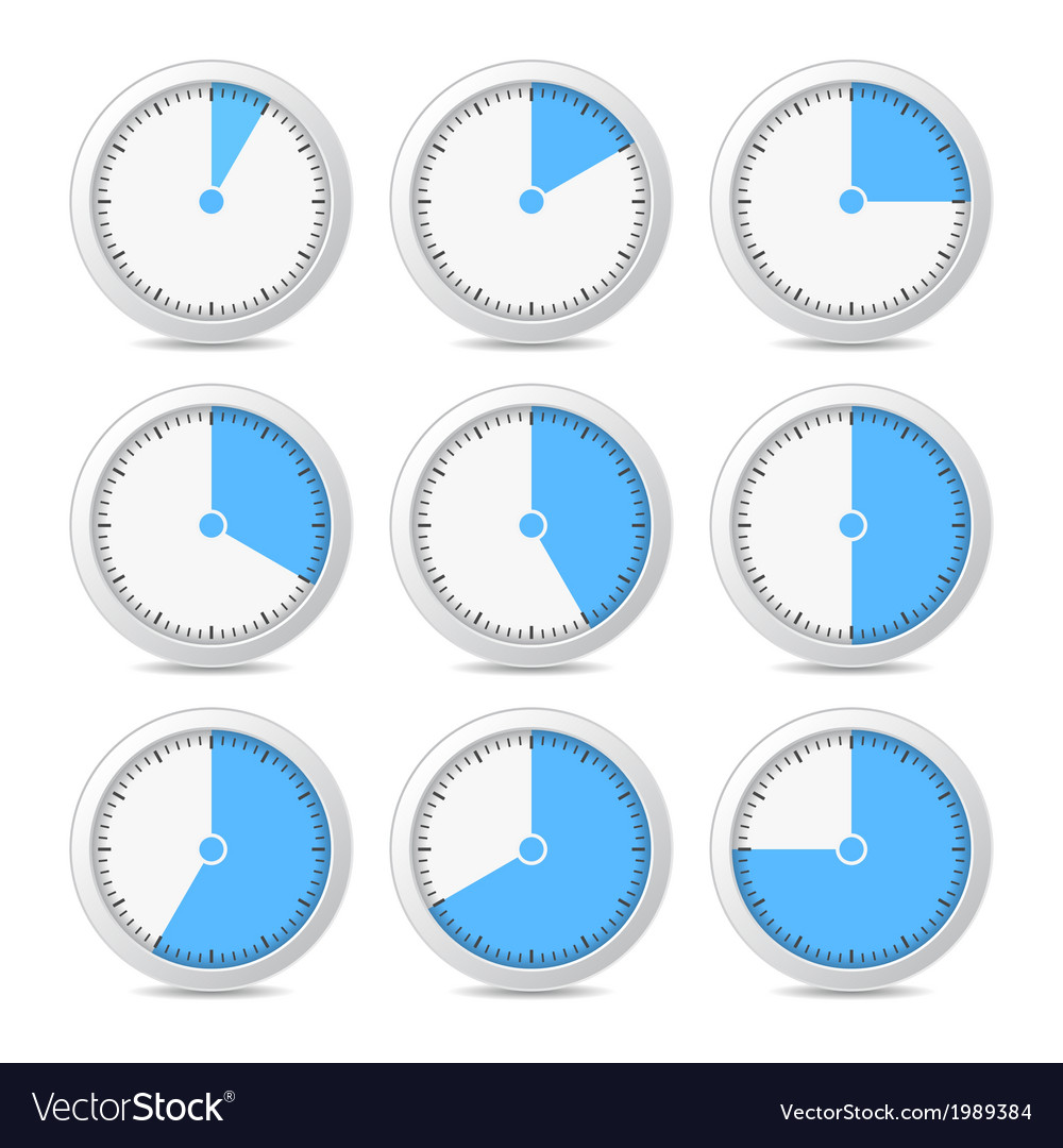 Timer icons on white background vector | Price: 1 Credit (USD $1)