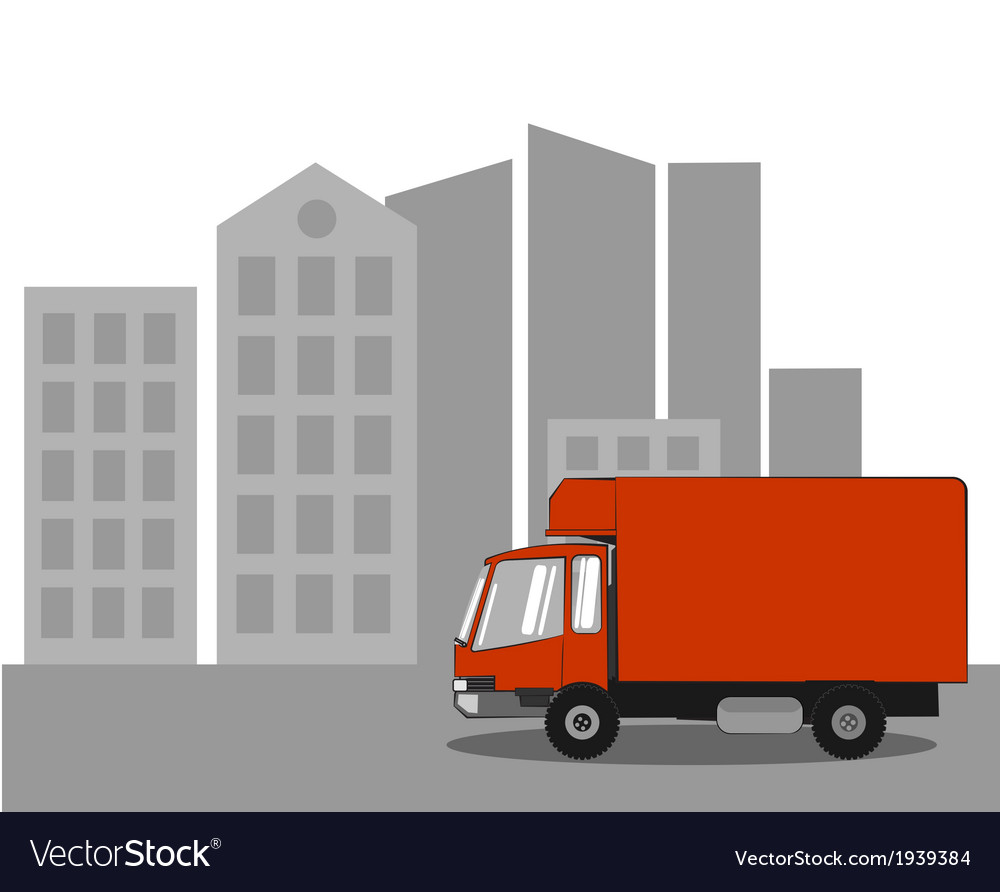 Truck in the city vector | Price: 1 Credit (USD $1)