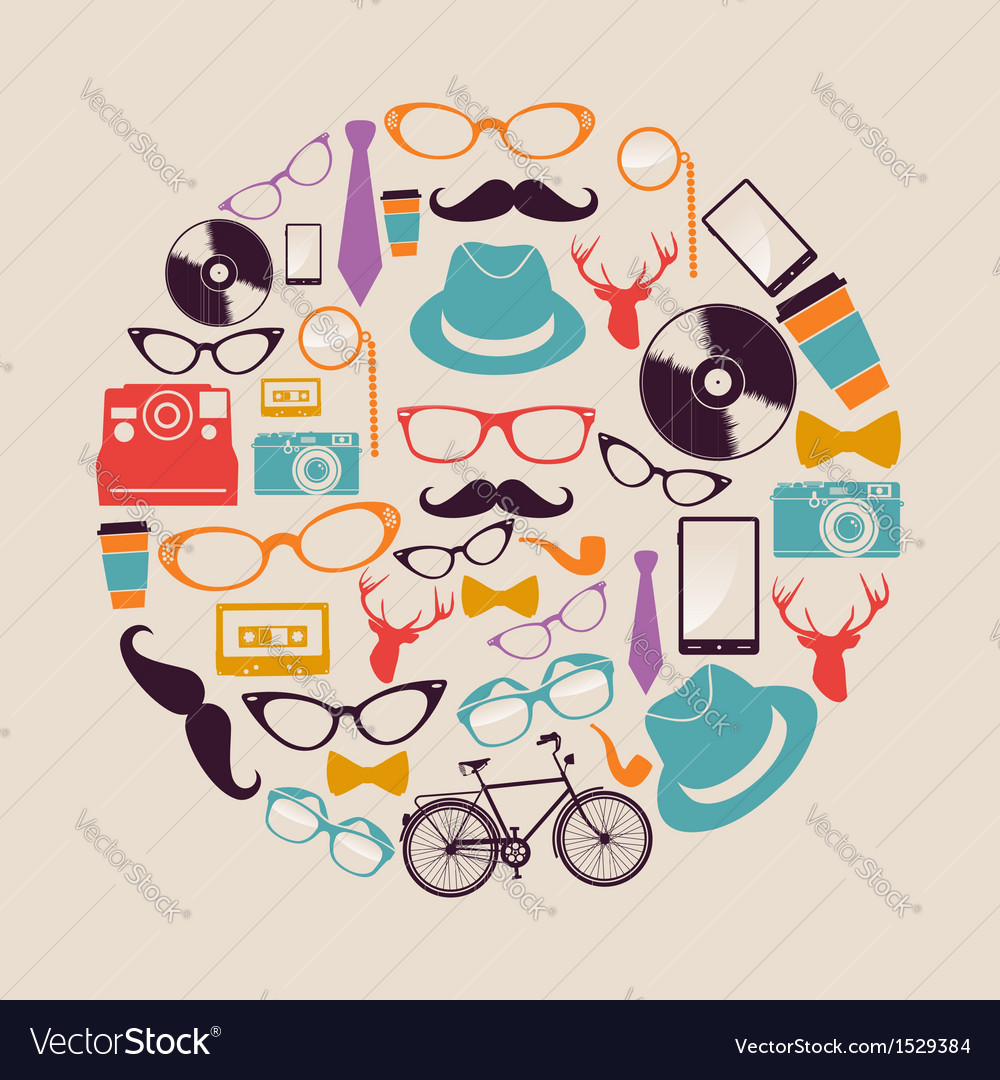 Vintage hipsters icons circle vector | Price: 1 Credit (USD $1)