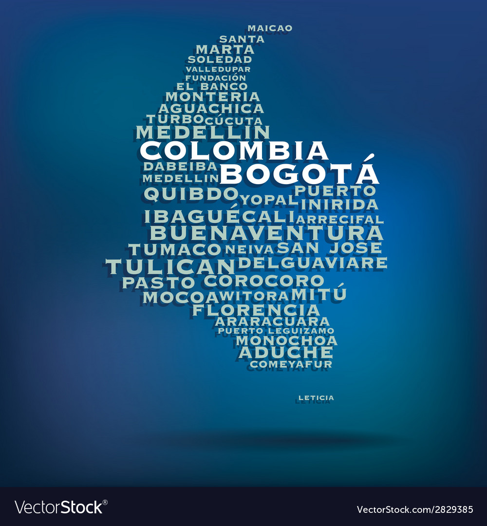 Colombia map made with name of cities vector | Price: 1 Credit (USD $1)