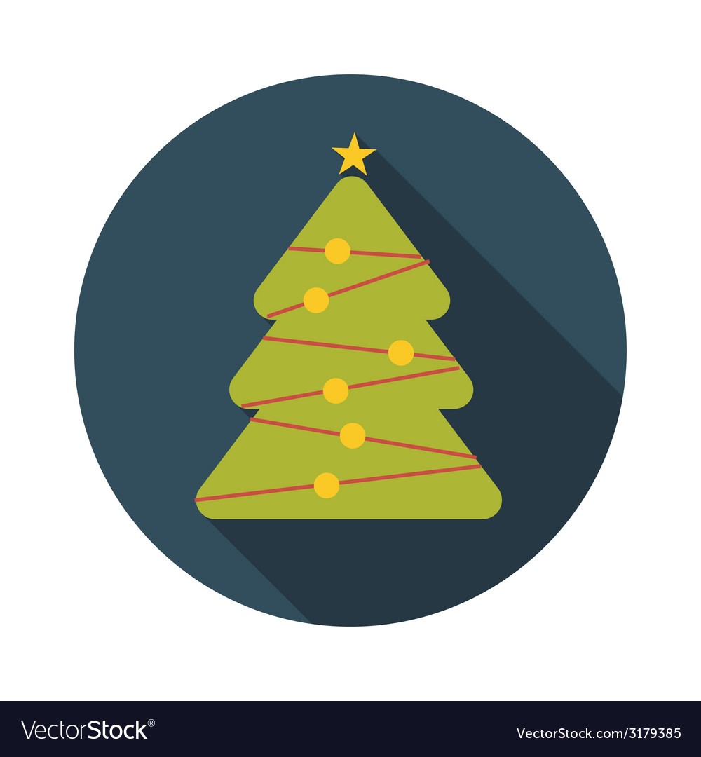 Flat design concept christmas tree with long vector | Price: 1 Credit (USD $1)