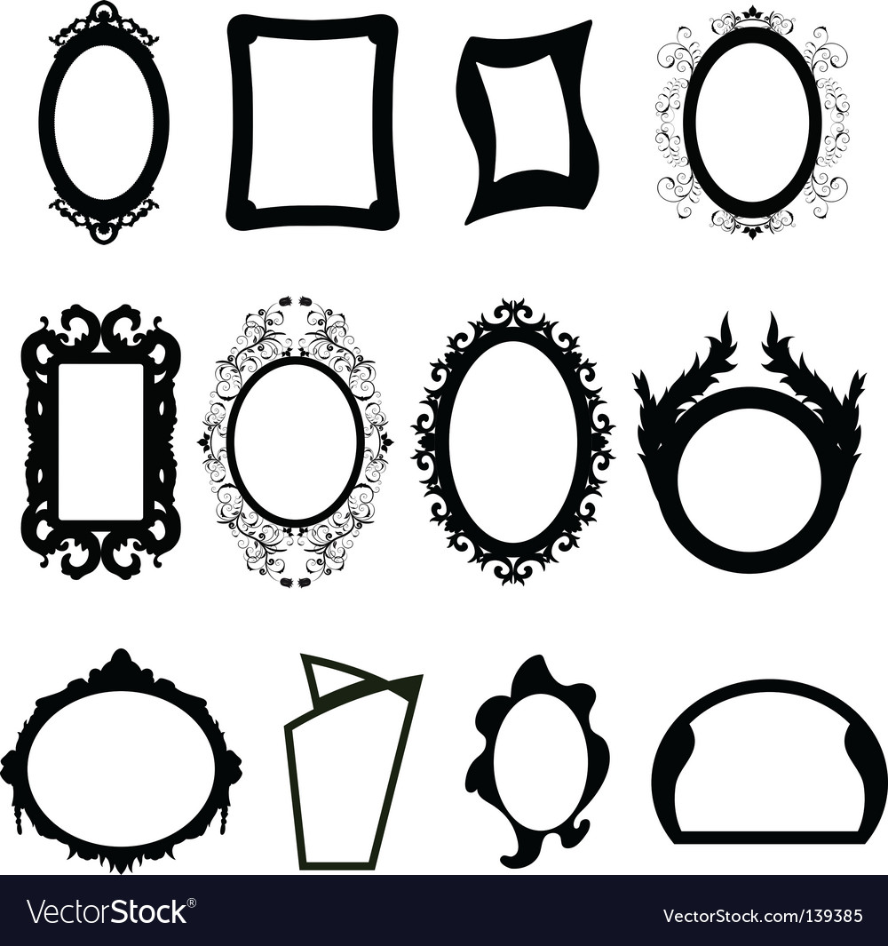 Mirror silhouettes set vector | Price: 1 Credit (USD $1)
