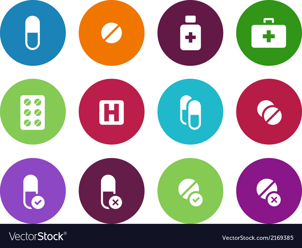 Pills medication circle icons on white background vector | Price: 1 Credit (USD $1)
