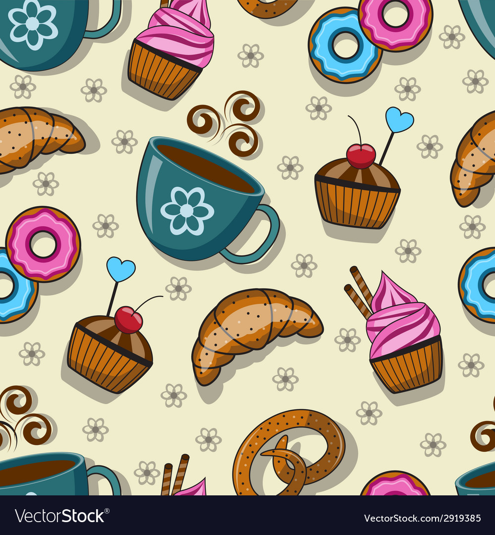 Seamless pattern with cups and sweets vector | Price: 1 Credit (USD $1)