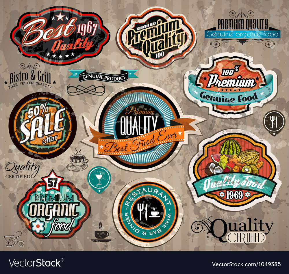 Set of premium quality vintage labels vector | Price: 1 Credit (USD $1)