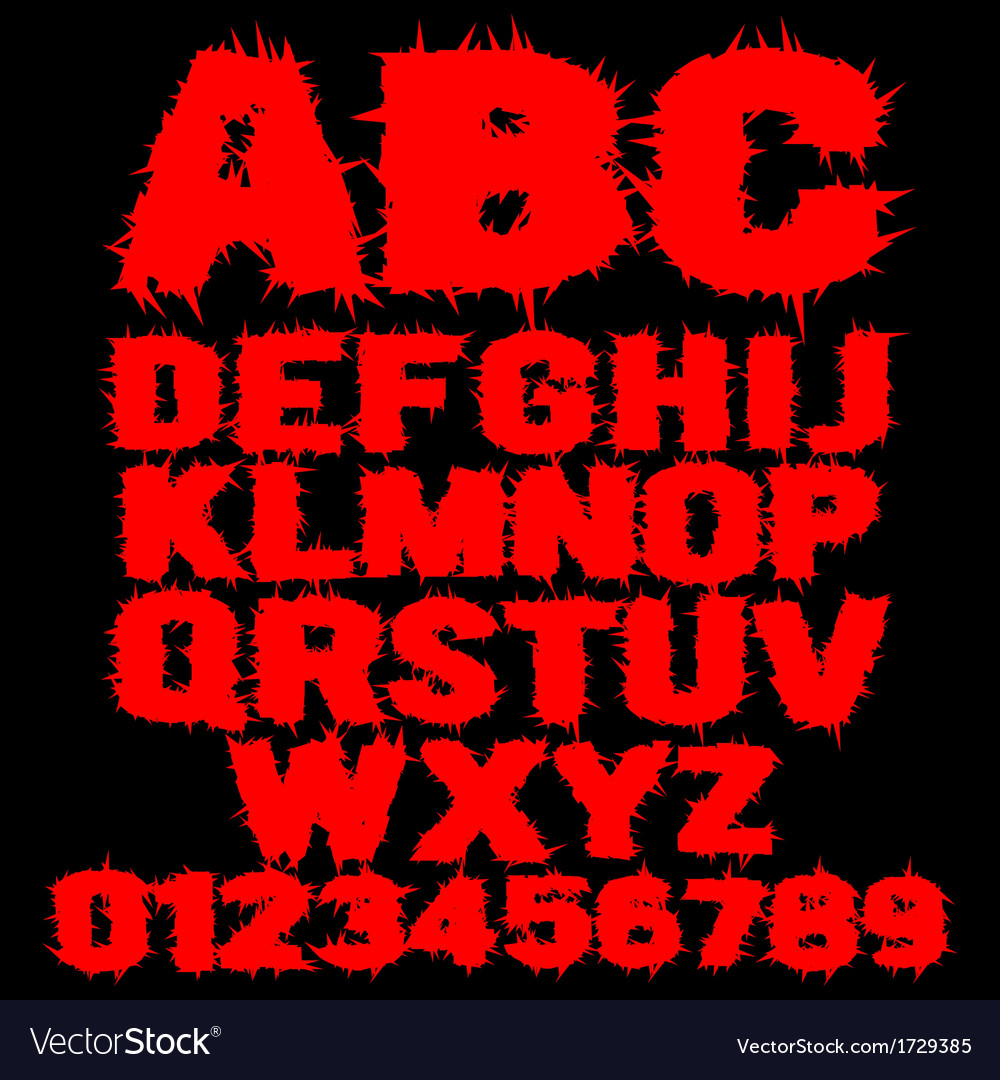 Set of red studded scary alphabet vector | Price: 1 Credit (USD $1)