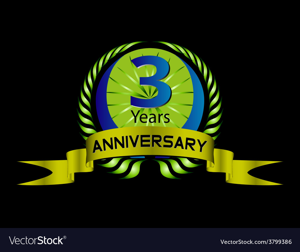 3 years anniversary laurel wreath set vector | Price: 1 Credit (USD $1)