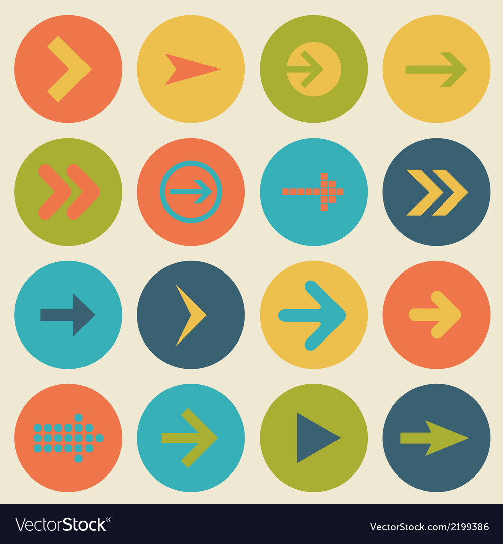 Arrow sign icon set flat design of web design vector | Price: 1 Credit (USD $1)