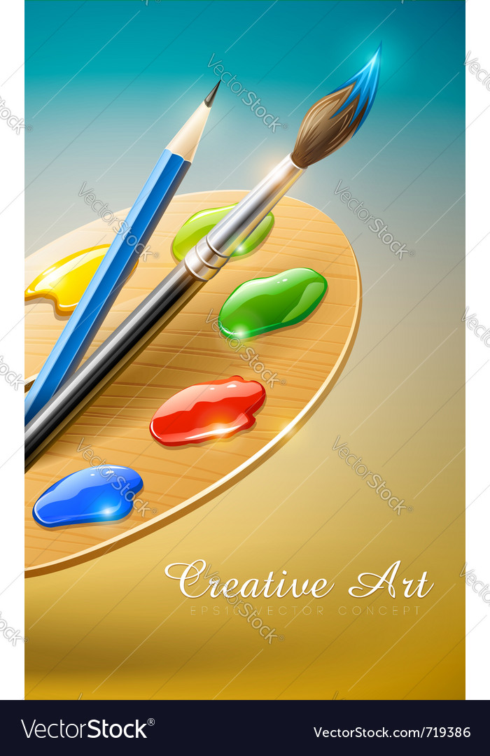 Art palette with paint brush vector | Price: 3 Credit (USD $3)