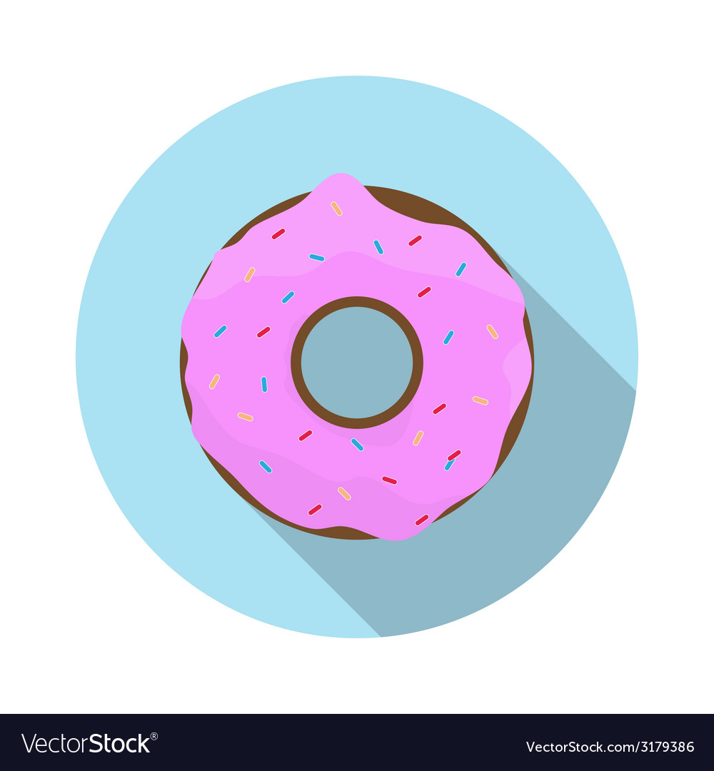 Flat design concept doughnut with icing with vector | Price: 1 Credit (USD $1)