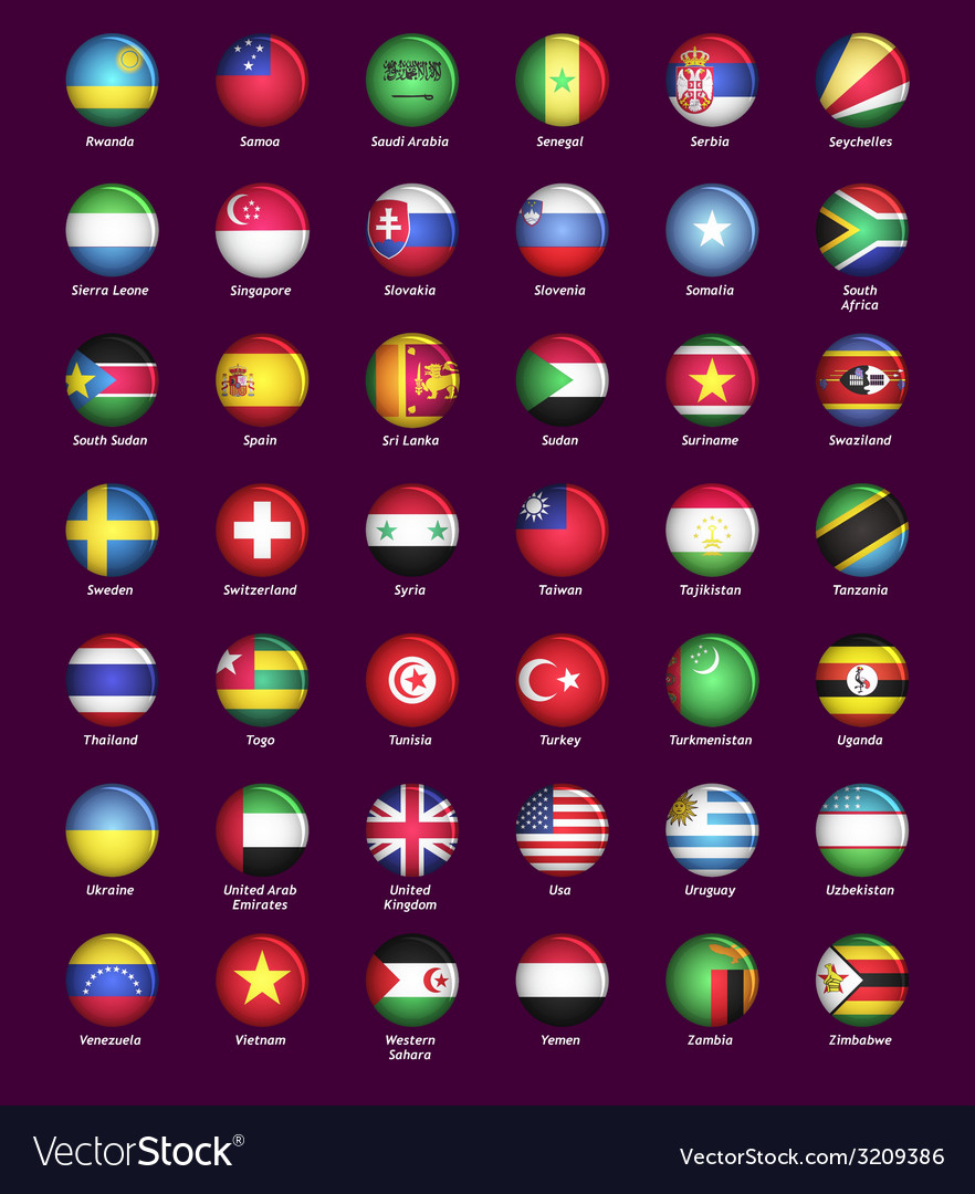Set of buttons with flags vector   Price: 1 Credit (USD $1)