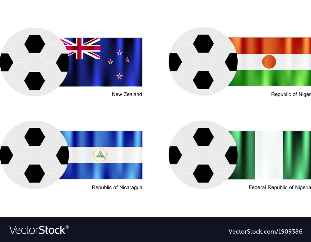 Soccer ball of new zealand niger nicaragua vector | Price: 1 Credit (USD $1)