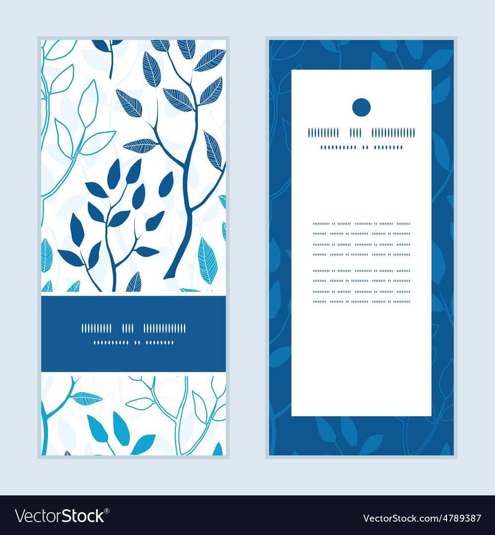 Blue forest vertical frame pattern vector | Price: 1 Credit (USD $1)