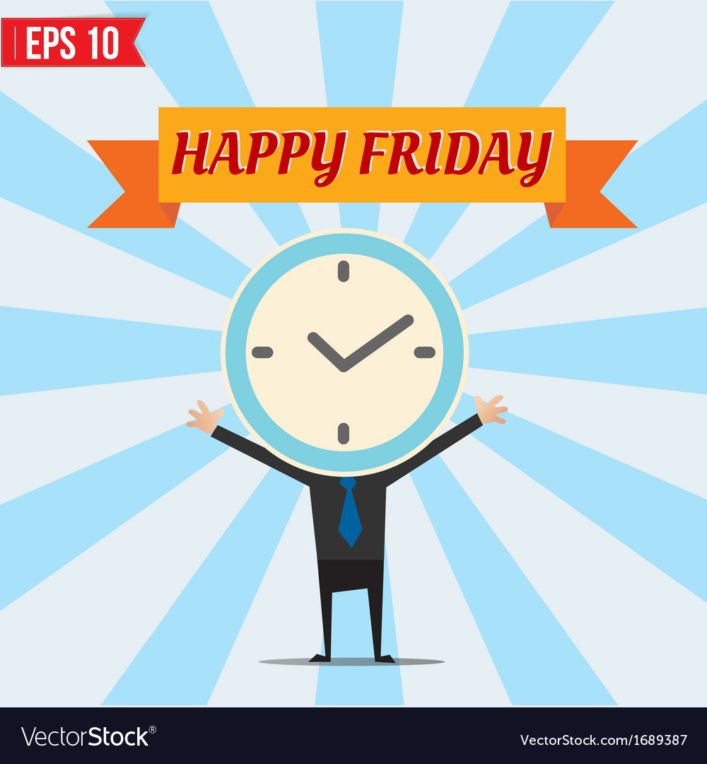 Cartoon businessman happy friday - - eps10 vector | Price: 1 Credit (USD $1)