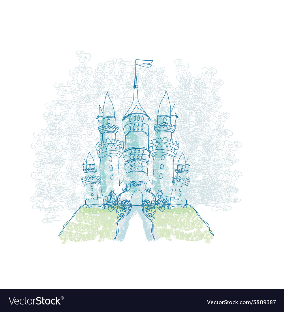 Doodle sketchy castle vector | Price: 1 Credit (USD $1)