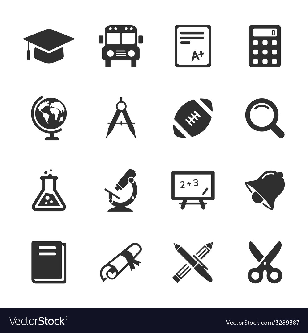 Education and school icons white vector
