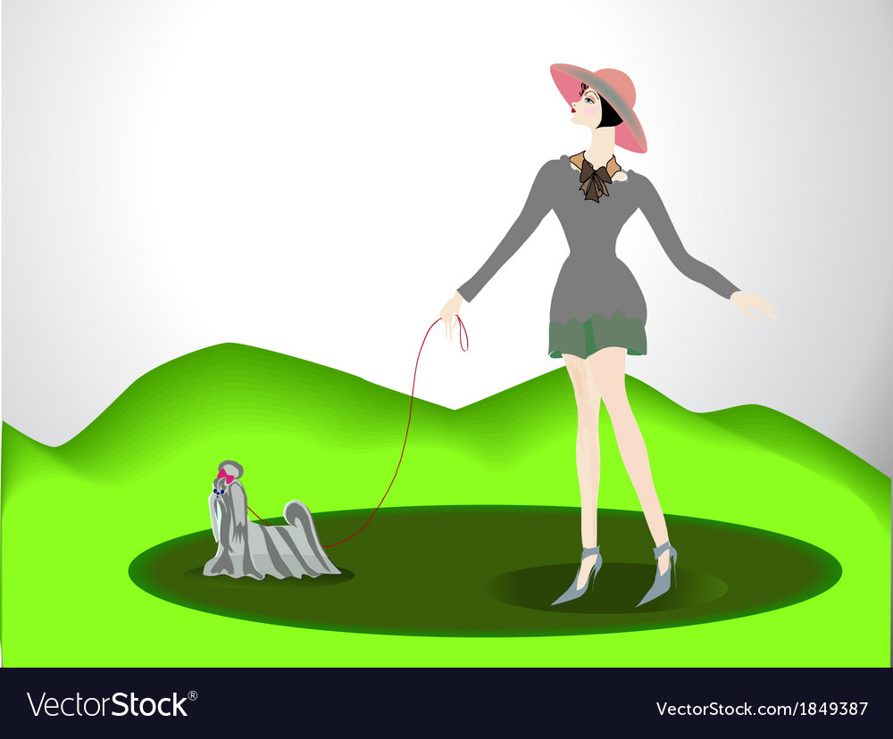 The girl with a doggie vector | Price: 1 Credit (USD $1)
