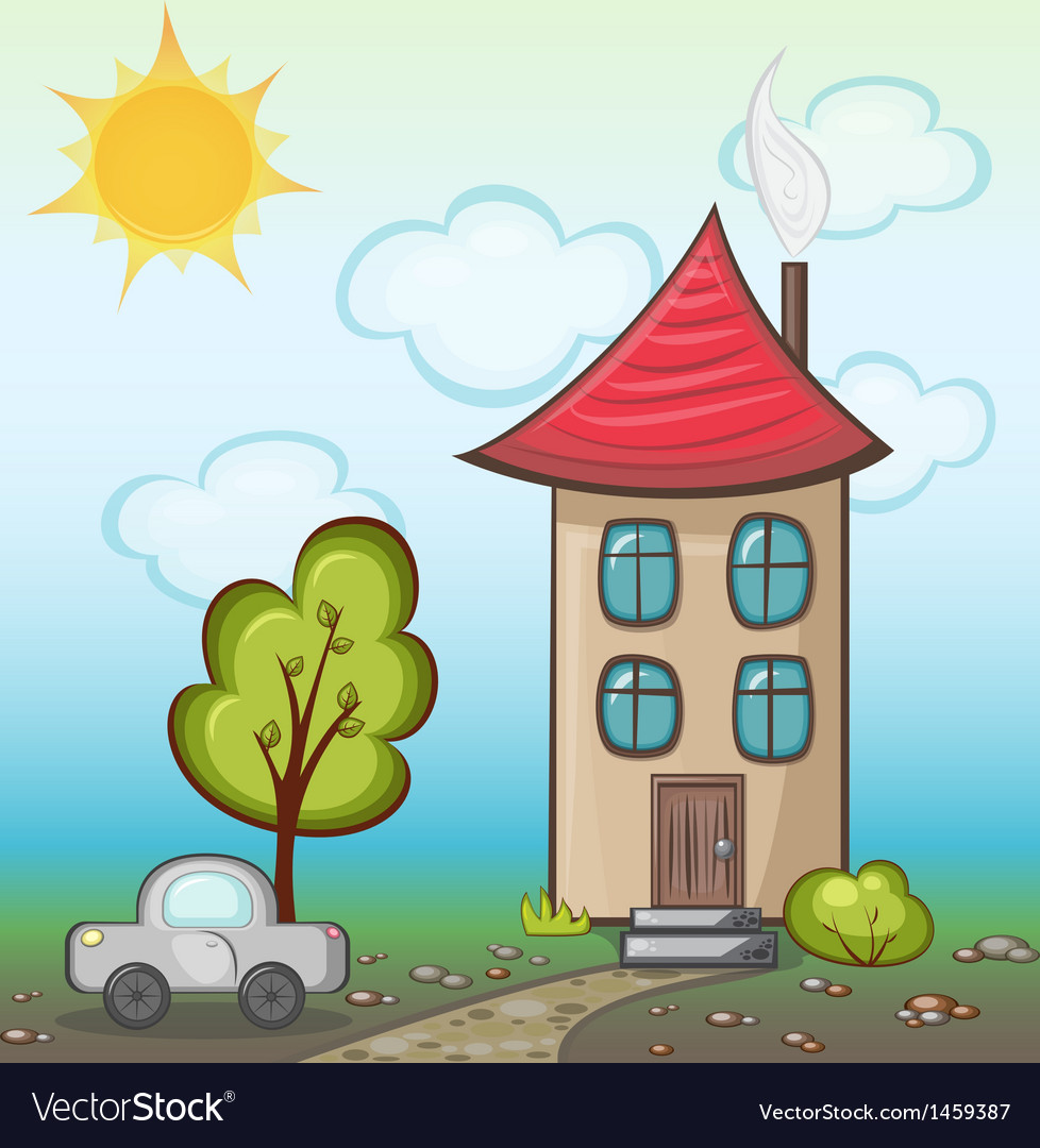 House with nature vector | Price: 1 Credit (USD $1)