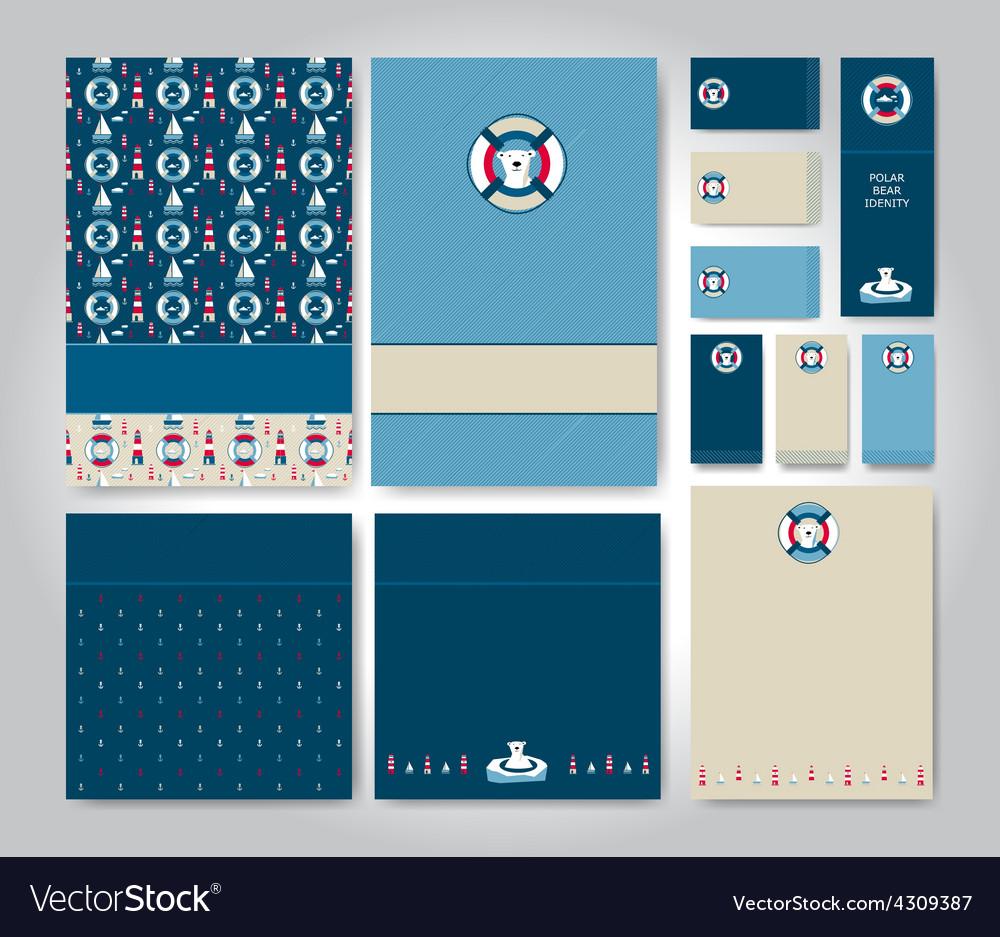 Polar bear idenity set vector | Price: 1 Credit (USD $1)