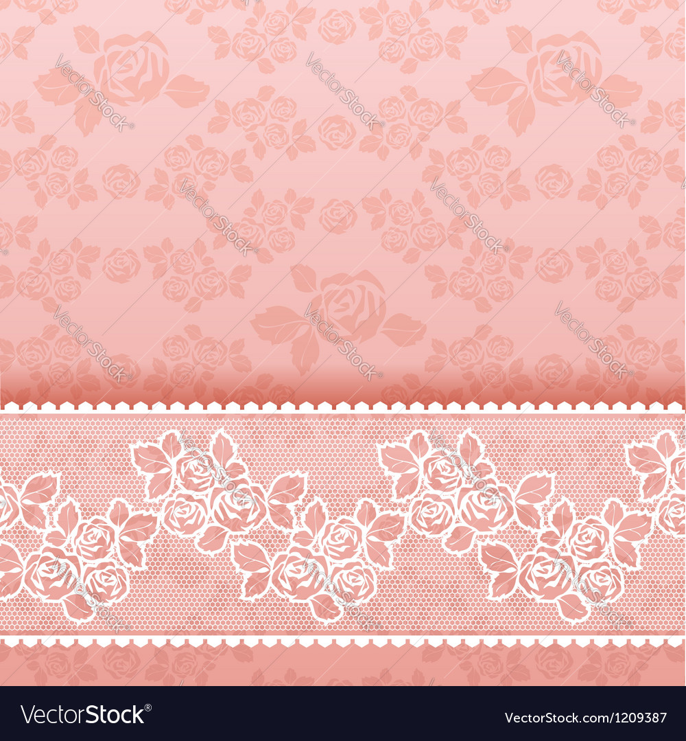 Roses on background square lace pink vector | Price: 1 Credit (USD $1)