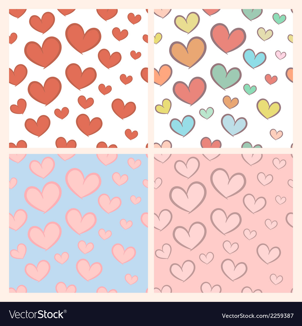 Seamless pattern set with hearts vector | Price: 1 Credit (USD $1)