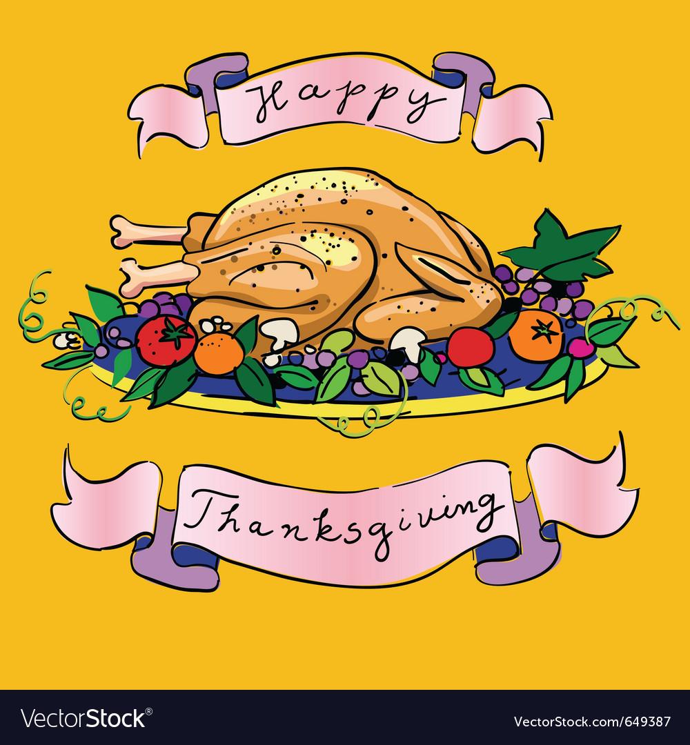 Thanksgiving turkey sketch vector | Price: 1 Credit (USD $1)