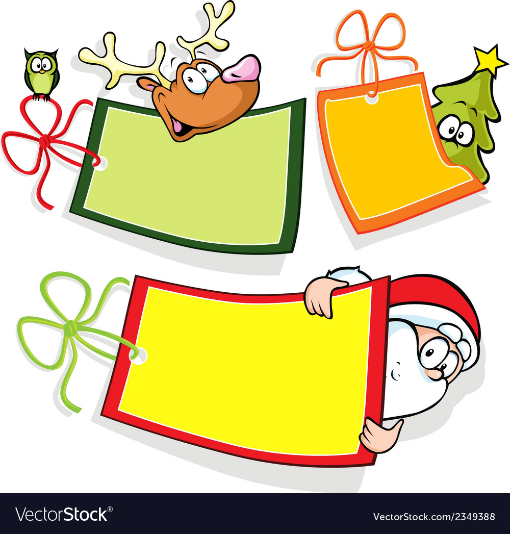 Christmas paper tag with santa christmas tree and vector | Price: 1 Credit (USD $1)