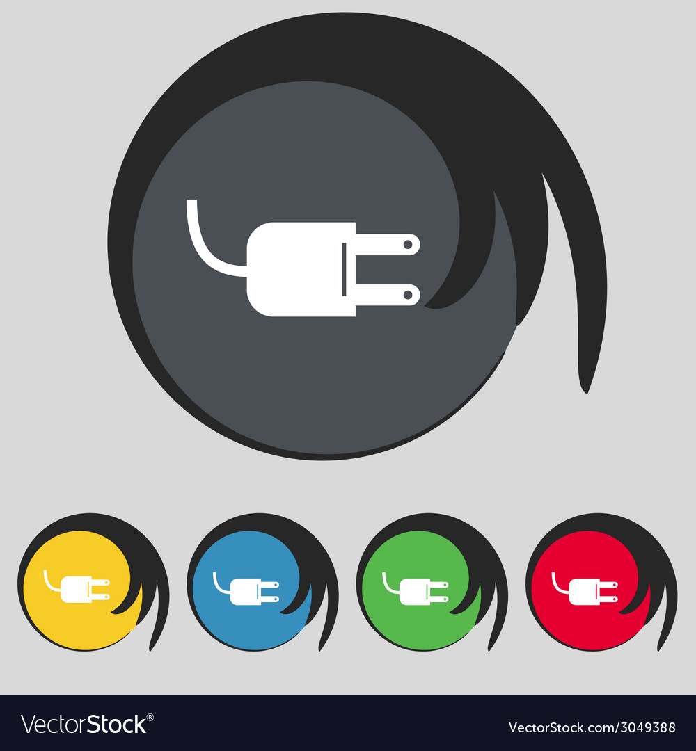 Electric plug sign icon power energy symbol set vector | Price: 1 Credit (USD $1)