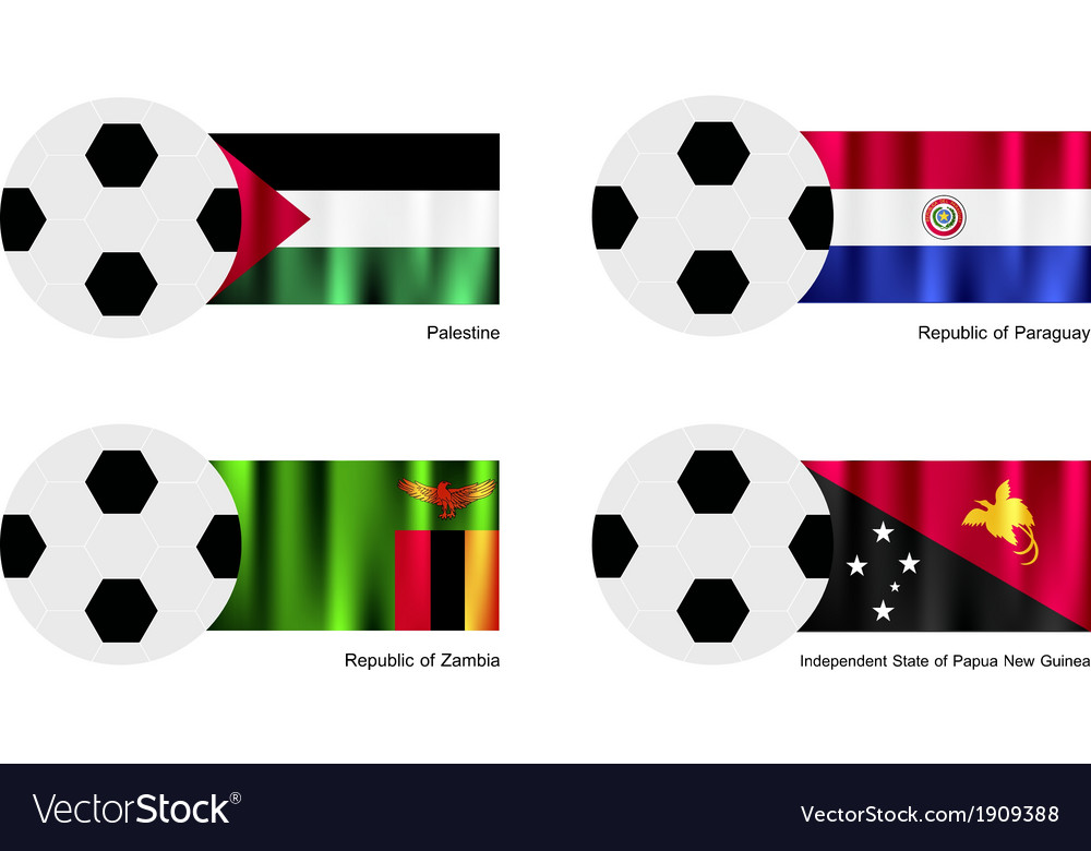Football with palestine paraguay zambia flag vector | Price: 1 Credit (USD $1)